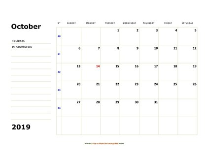 photograph regarding Printable Oct Calendar known as Oct 2019 Absolutely free Calendar Tempplate Cost-free-calendar
