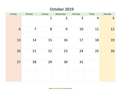 october 2019 calendar colored horizontal