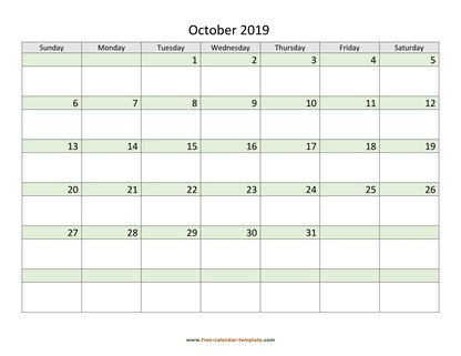 october 2019 calendar daycolored horizontal