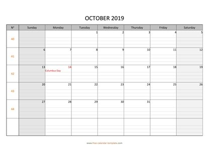 october 2019 calendar daygrid horizontal