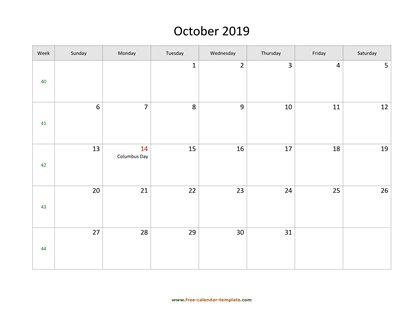 october 2019 calendar holidays horizontal