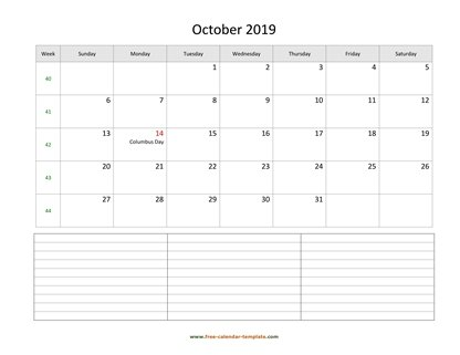 october 2019 calendar notes horizontal
