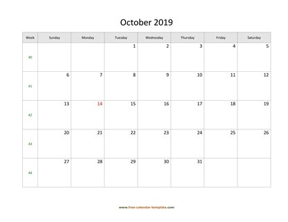 october 2019 calendar simple horizontal