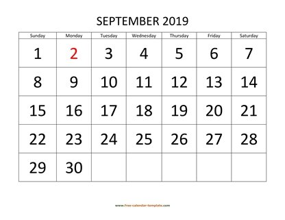 september 2019 calendar bigfont horizontal