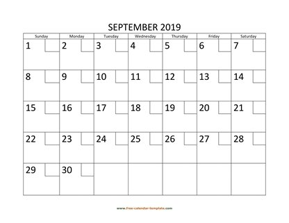 september 2019 calendar checkboxes horizontal