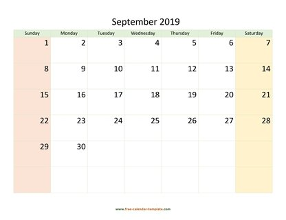 september 2019 calendar colored horizontal