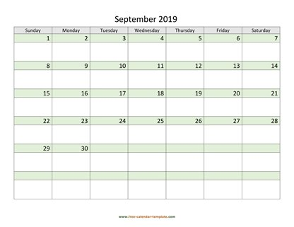 september 2019 calendar daycolored horizontal
