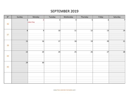 september 2019 calendar daygrid horizontal