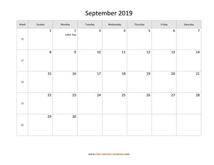 september 2019 calendar holidays horizontal