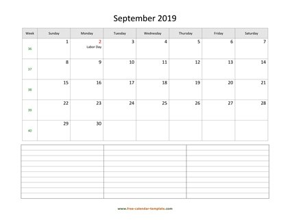 september 2019 calendar notes horizontal