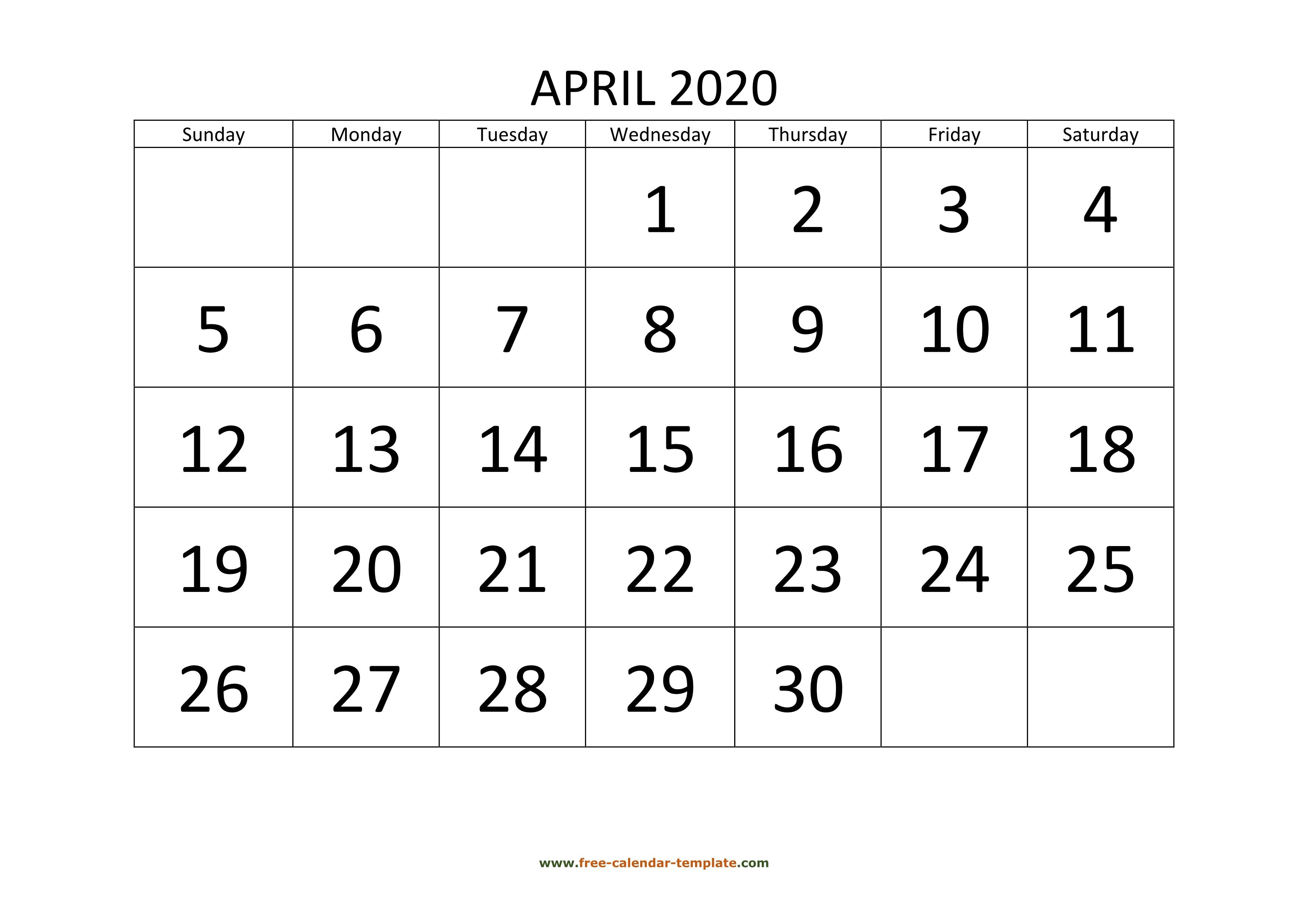 April Calendar Template from www.free-calendar-template.com