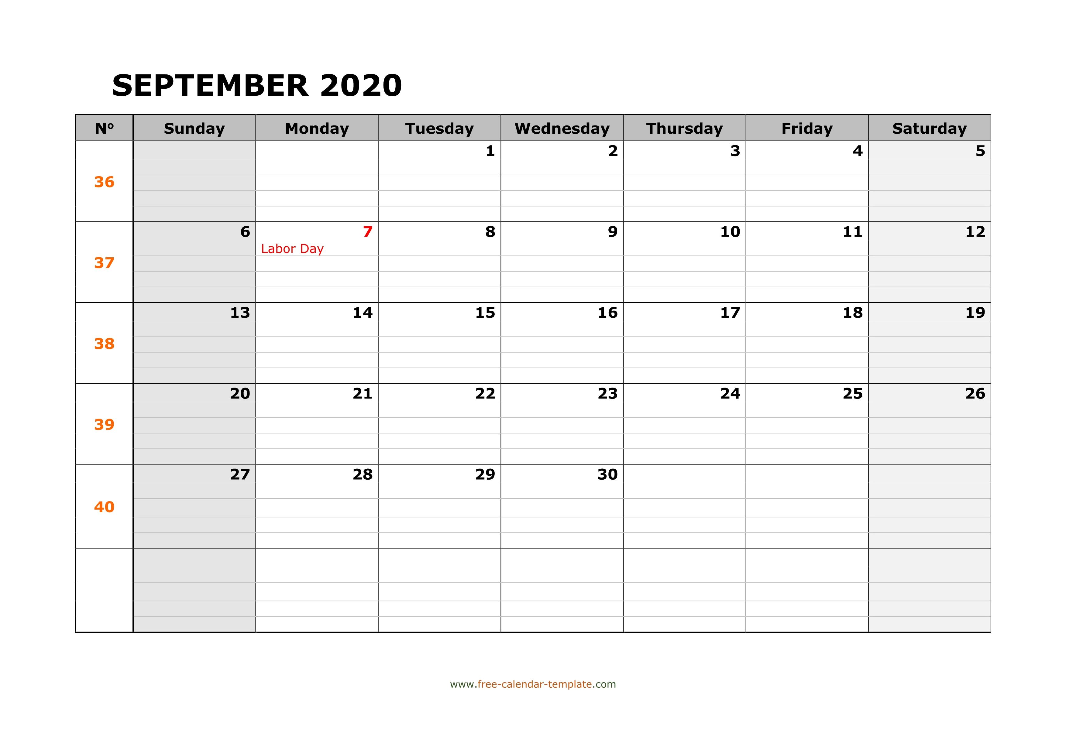 September 2020 Calendar Free Printable With Grid Lines Designed Horizontal Free Calendar Template Com