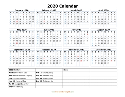 2020 calendar holidays bottom horizontal