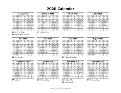 2020 calendar holidays month horizontal