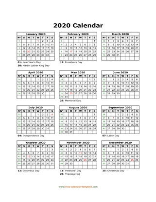 2020 calendar holidays month vertical
