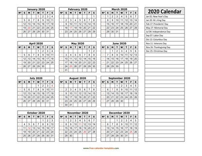 2020 calendar holidays right horizontal