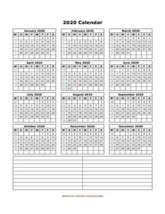 2020 calendar notes vertical