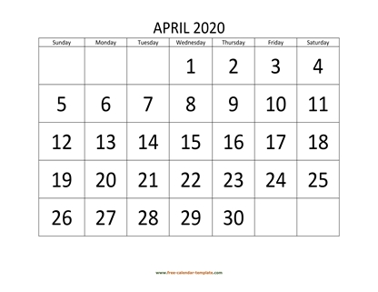 april 2020 calendar bigfont horizontal