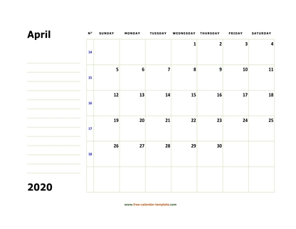april 2020 calendar boxnotes horizontal