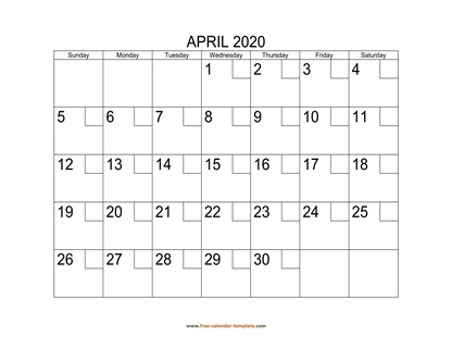 april 2020 calendar checkboxes horizontal