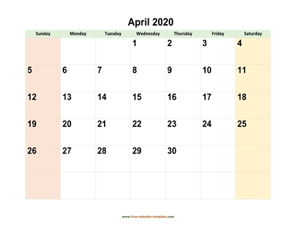 april 2020 calendar colored horizontal