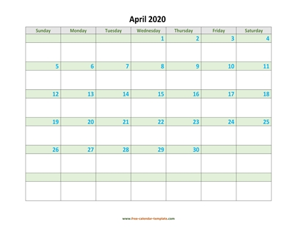april 2020 calendar daycolored horizontal