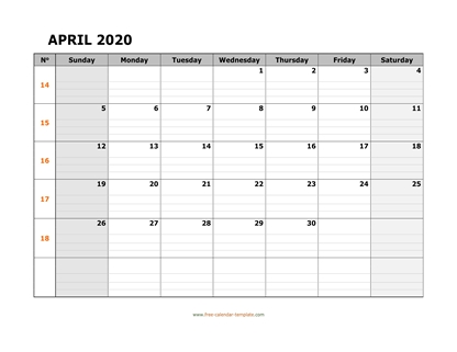 april 2020 calendar daygrid horizontal