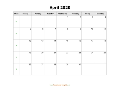 april 2020 calendar holidays horizontal