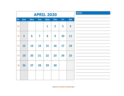 april 2020 calendar largenotes horizontal