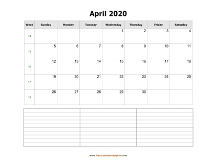 april 2020 calendar notes horizontal