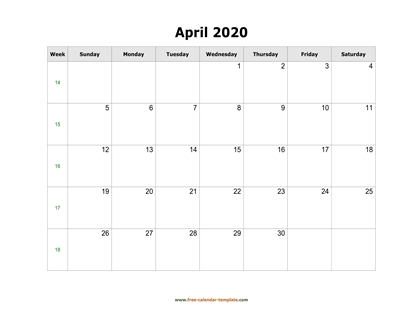 april 2020 calendar simple horizontal