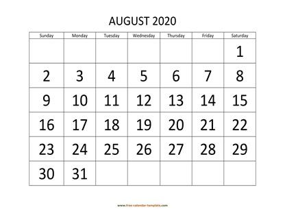 august 2020 calendar bigfont horizontal