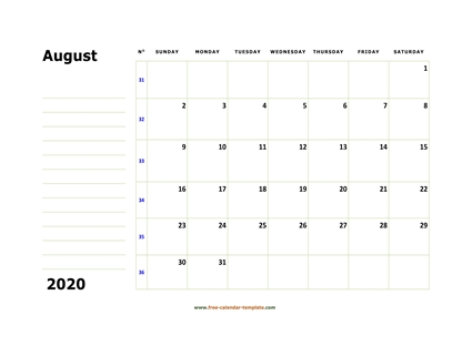 august 2020 calendar boxnotes horizontal