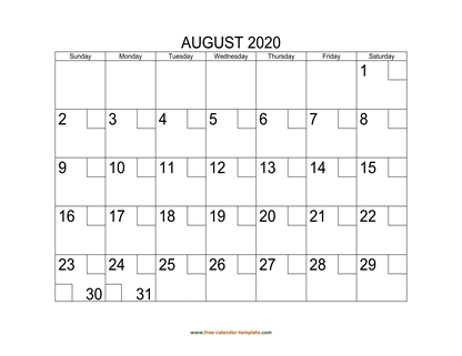 august 2020 calendar checkboxes horizontal