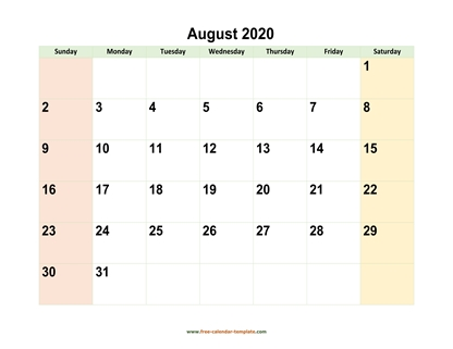 august 2020 calendar colored horizontal