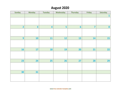 august 2020 calendar daycolored horizontal
