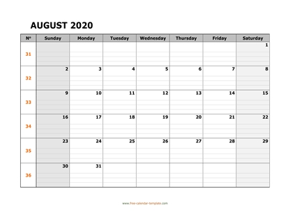 august 2020 calendar daygrid horizontal