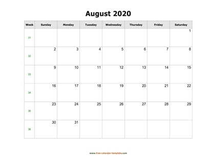 august 2020 calendar holidays horizontal