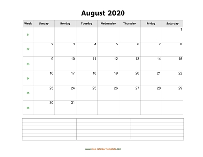 august 2020 calendar notes horizontal