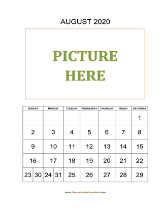 august 2020 calendar picture vertical