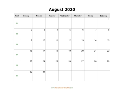 august 2020 calendar simple horizontal