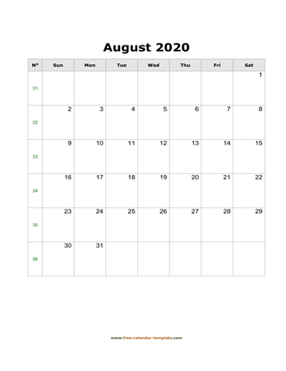 august 2020 calendar simple vertical