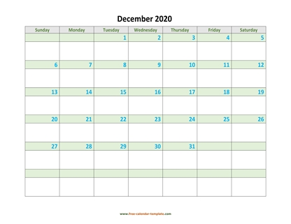 december 2020 calendar daycolored horizontal