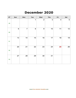 december 2020 calendar holidays vertical