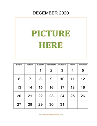 december 2020 calendar picture vertical