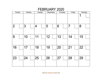 february 2020 calendar checkboxes horizontal