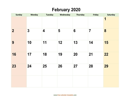 february 2020 calendar colored horizontal