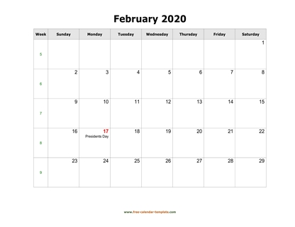 february 2020 calendar holidays horizontal