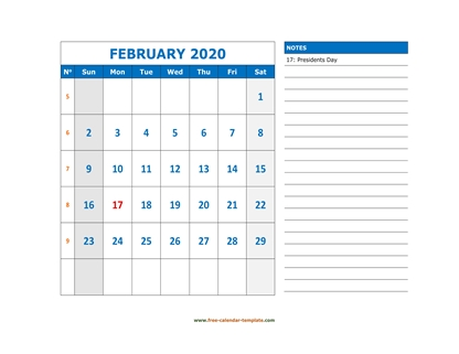 february 2020 calendar largenotes horizontal