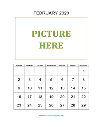 february 2020 calendar picture vertical